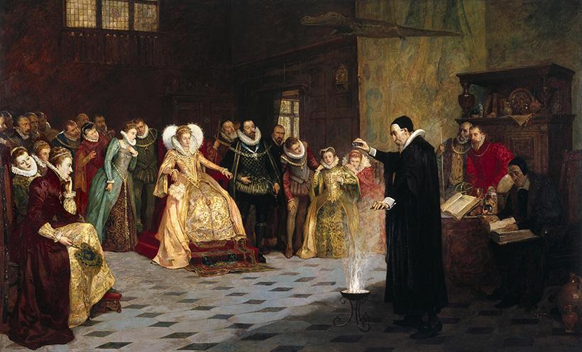 Джон Ди проводит эксперимент перед королевой Елизаветой I